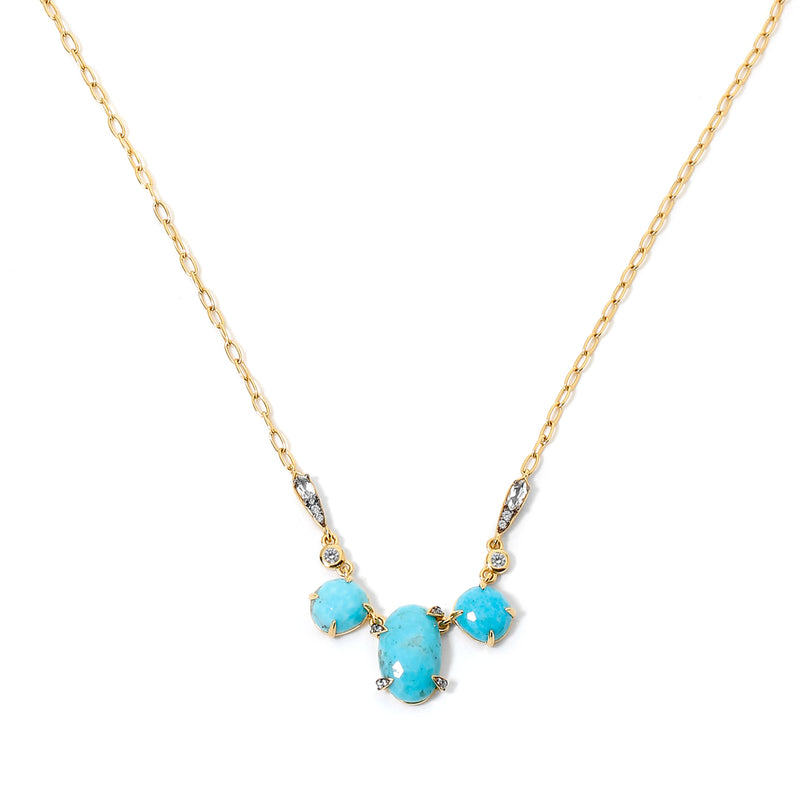 AGEAN TURQUOISE AND WHITE TOPAZ FRONTAL NECKLACE