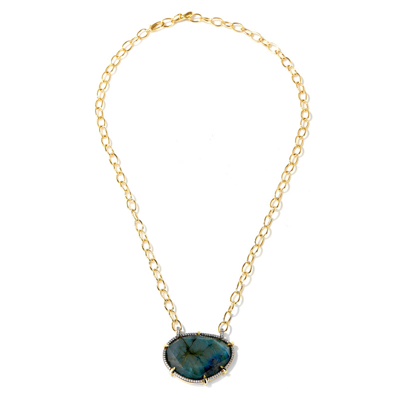 MARI LABRADORITE AND PAVE CZ FRONTAL NECKLACE