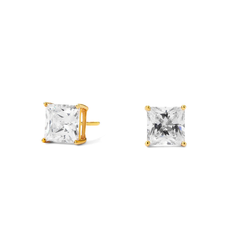 14KT GOLD PRINCESS CUT 3CTW CZ EARRINGS