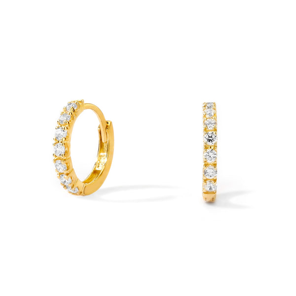 14KT GOLD PAVE CZ HUGGIE EARRINGS