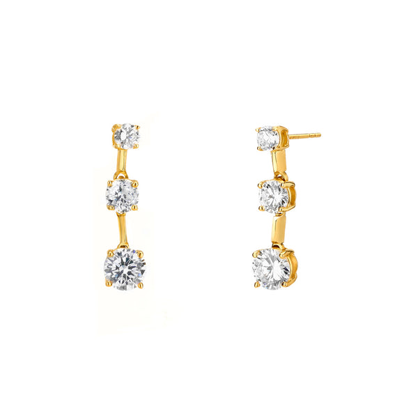 14KT GOLD CZ 3 TIER DROP EARRING