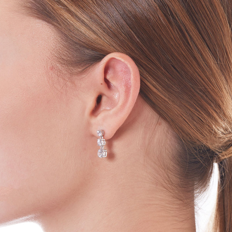 TRIPLE ROUND CZ EARRINGS - 3 Colors