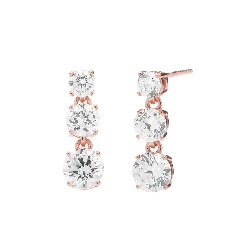 nadri rose gold plated sterling silver triple round cz post drop earrings