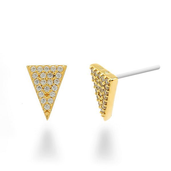 Pave Triangle Stud Earrings 18K Gold Plated