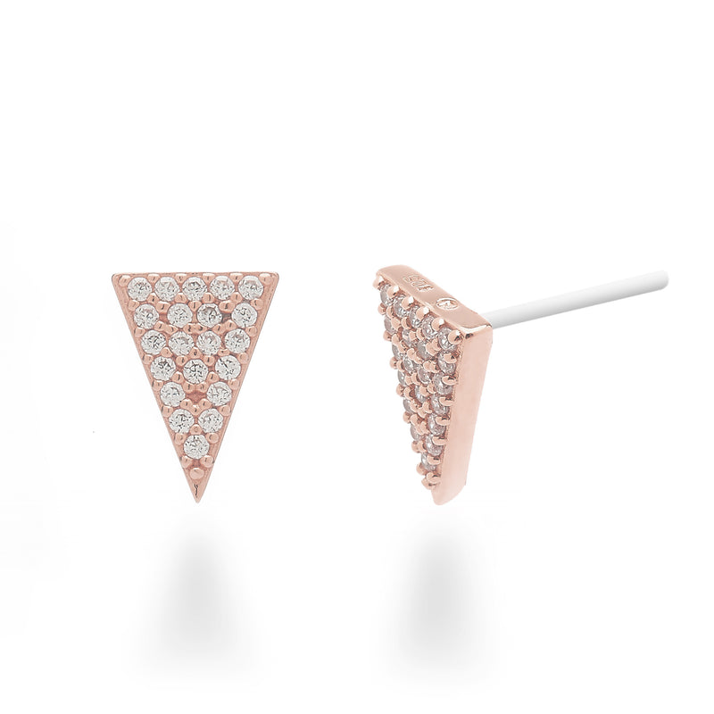 nadri rose gold plated sterling silver pave inverted triangle edgy stud earrings