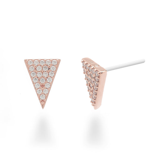Pave Triangle Stud Earrings Rose Gold Plated