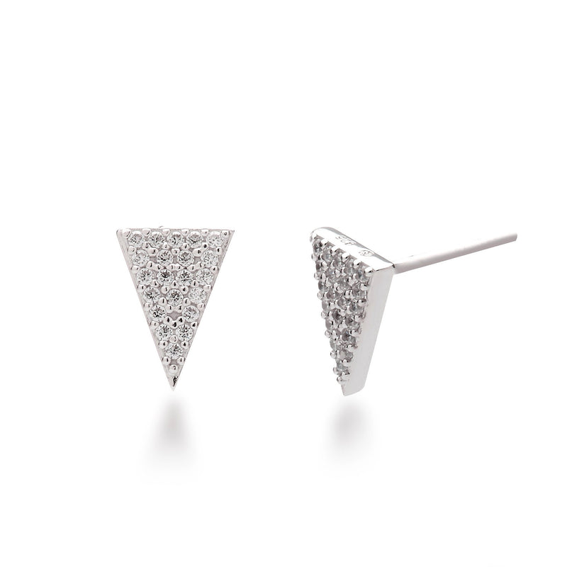 nadri rhodium plated sterling silver PAVEinverted triangle edgy stud earrings