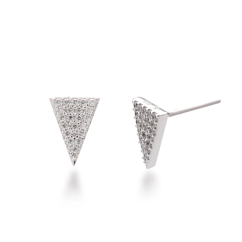 nadri rhodium plated sterling silver pave inverted triangle edgy stud earrings