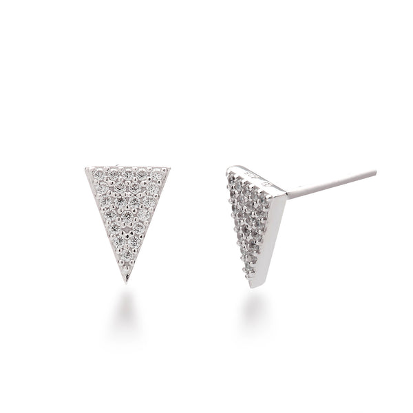 Pave Triangle Stud Earrings Rhodium Plated