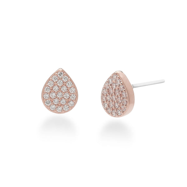 nadri rose gold plated sterling silver PAVEcz teardrop stud earrings