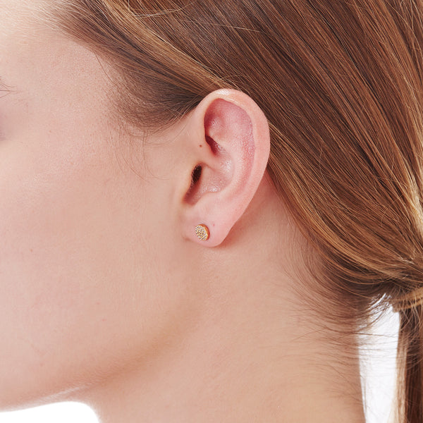 PAVE CIRCLE STUDS - 3 Colors