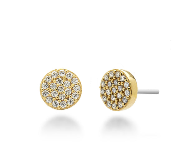 Pave Circle Stud Earrings 18K Gold Plated