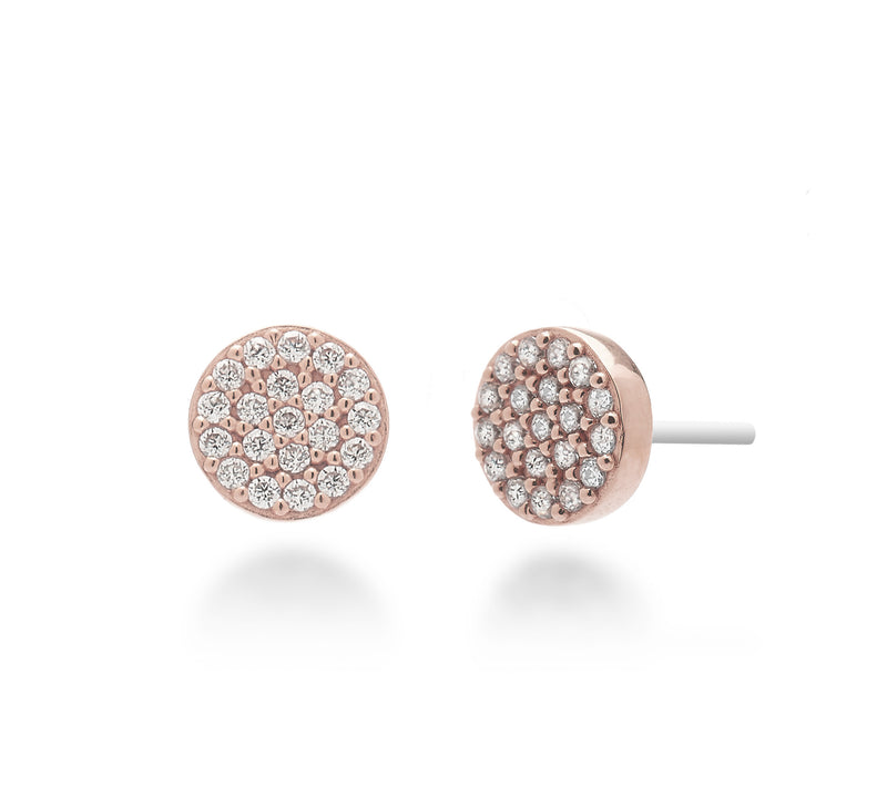 nadri rose gold plated sterling silver pave circle stud earrings