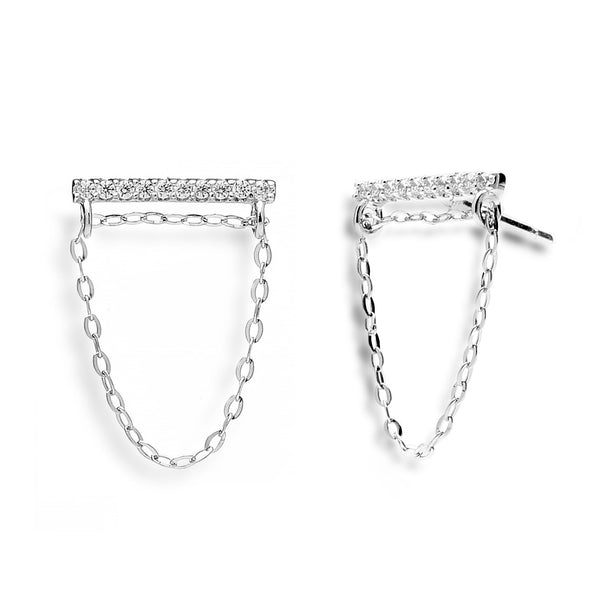 nadri rhodium plated sterling silver swing chain cz earrings