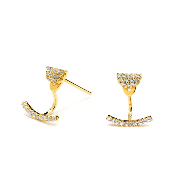 gold pave earrings with jacket