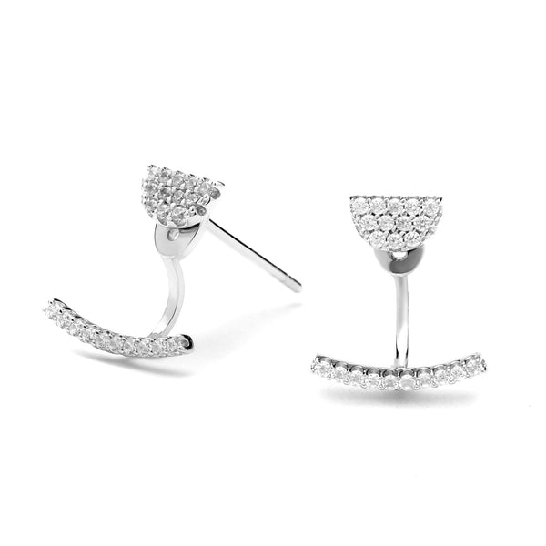 silver pave earrings with jacket
