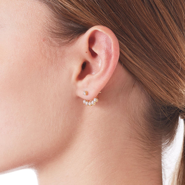 BURST CZ EARRINGS WITH JACKET - 3 Colors