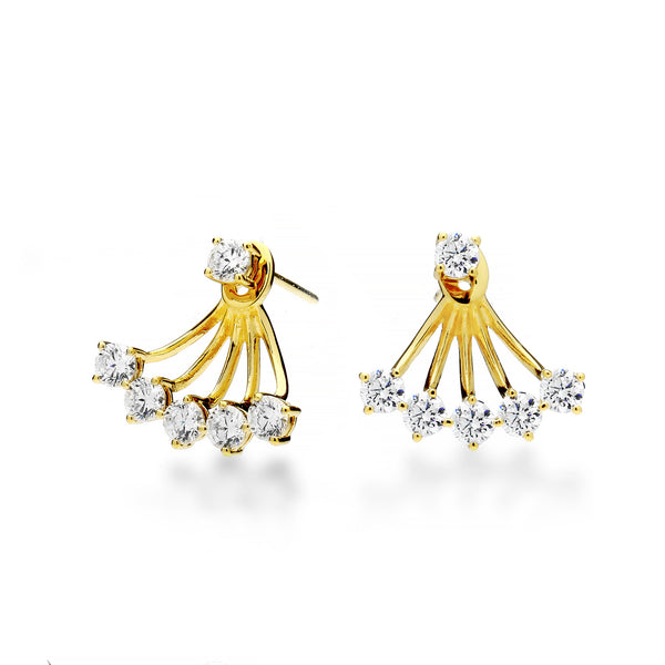 nadri 18k gold plated sterling silver burst cz earrings with jacket