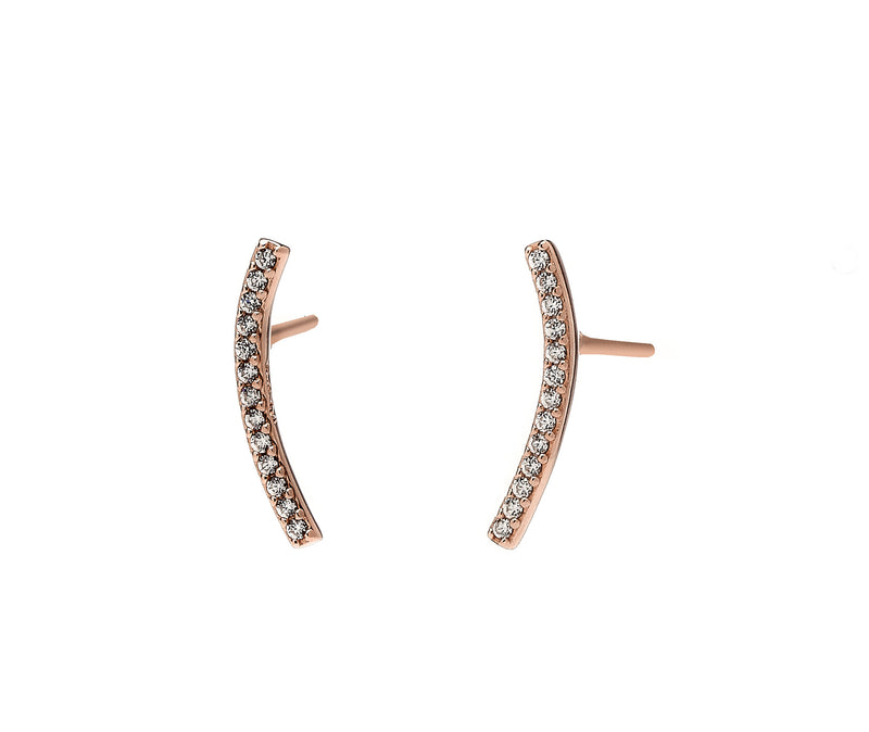 nadri rose gold plated sterling silver skinny east west cz earrings