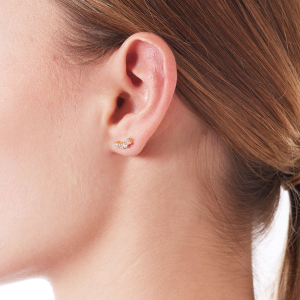 TINY EAST WEST CZ EARRINGS - 3 Colors