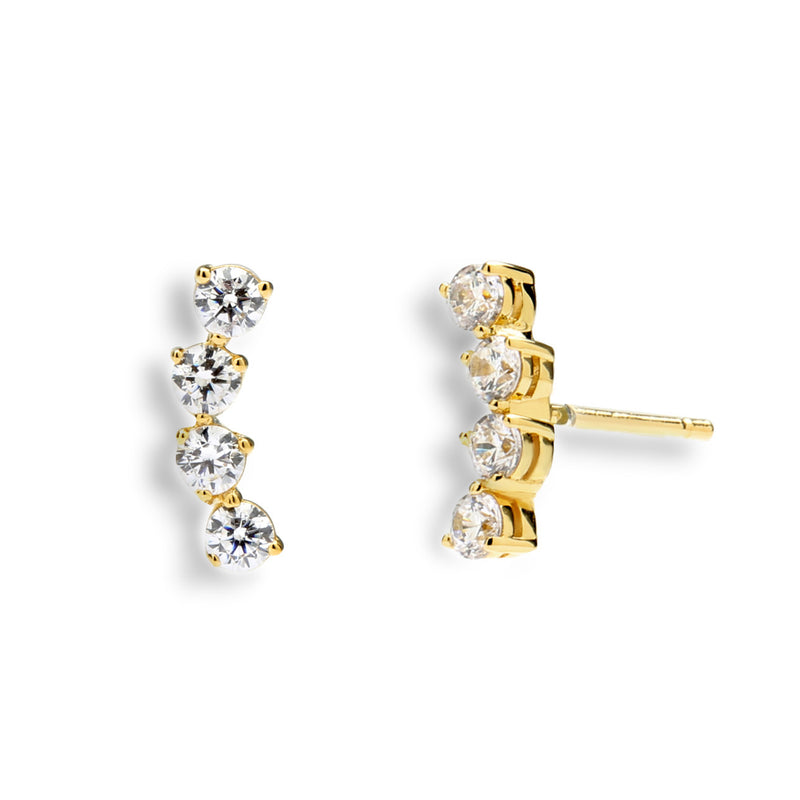 nadri 18k gold plated sterling silver tiny east west cz earrings