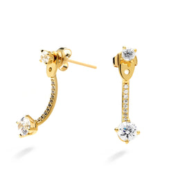 nadri 18k gold plated sterling silver linear cz front back earrings