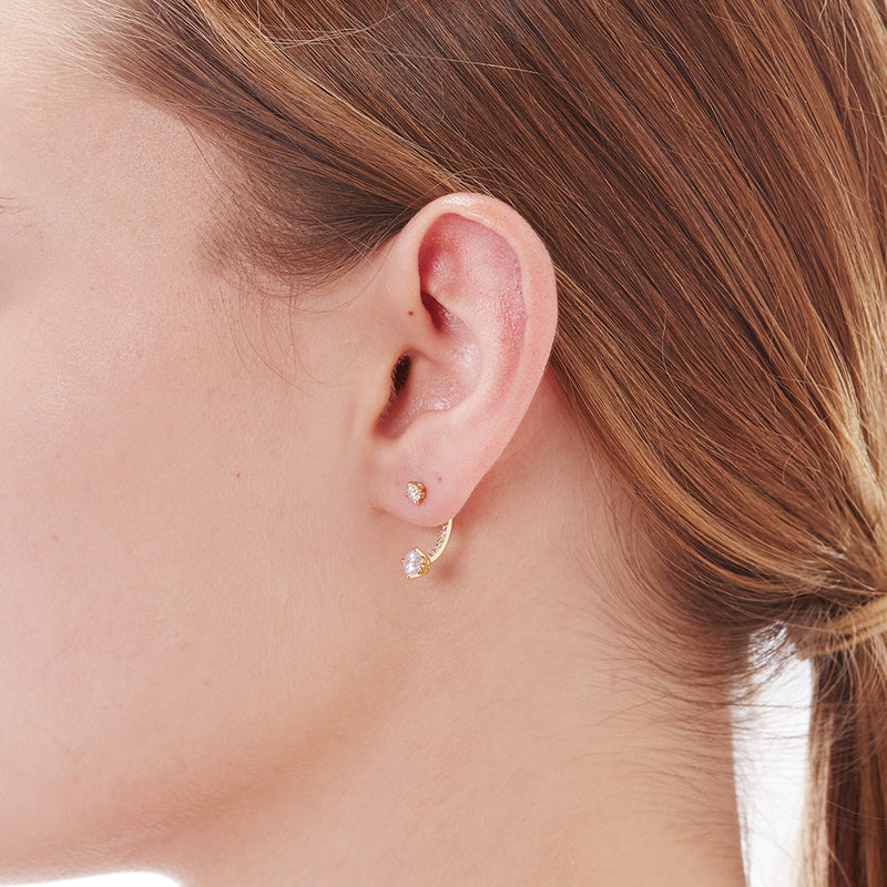 LINEAR CZ FRONT BACK EARRING - 3 Colors