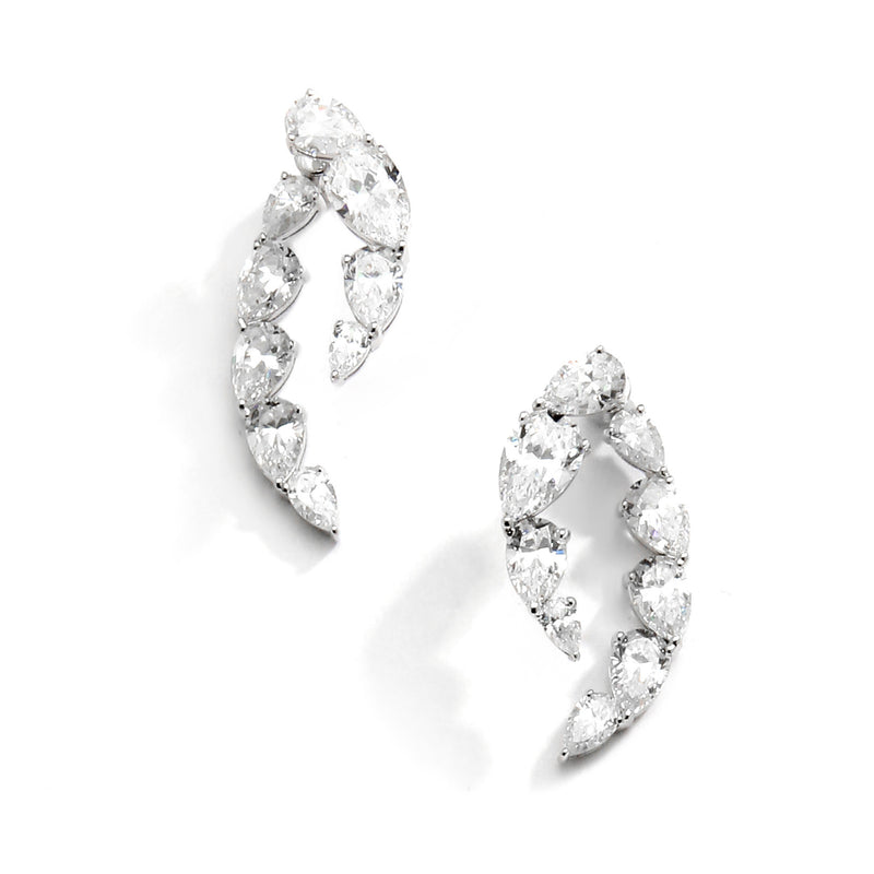 nadri rhodium plated sterling silver lumie cz front back earrings