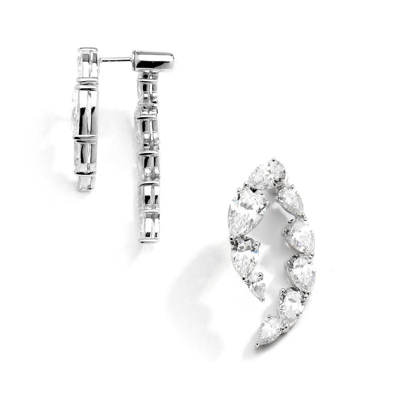 nadri rhodium plated sterling silver lumie cz front back earrings side view