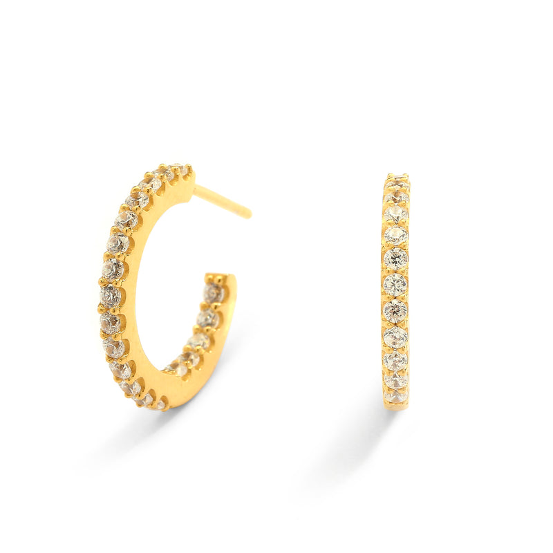 nadri 18k gold plated sterling silver small pave inside out cz hoop earrings