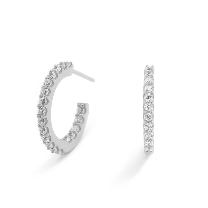 nadri rhodium plated sterling silver small pave inside out cz hoop earrings