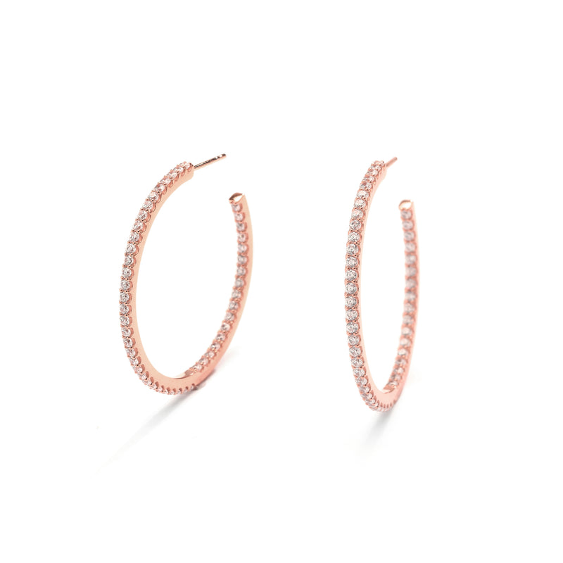nadri rose gold plated sterling silver everyday luxury medium pave inside out hoop earrings