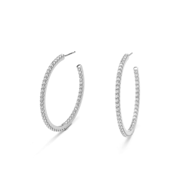 nadri rhodium plated sterling silver everyday luxury medium pave inside out hoop earrings