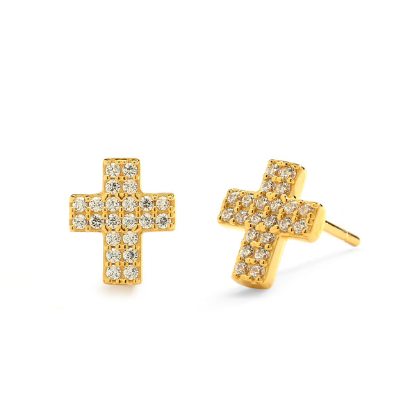 nadri 18k gold plated sterling silver petite pave cz cross earrings
