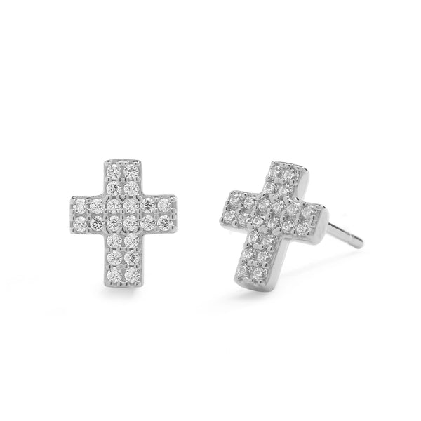 nadri rhodium plated sterling silver petite pave cz cross earrings