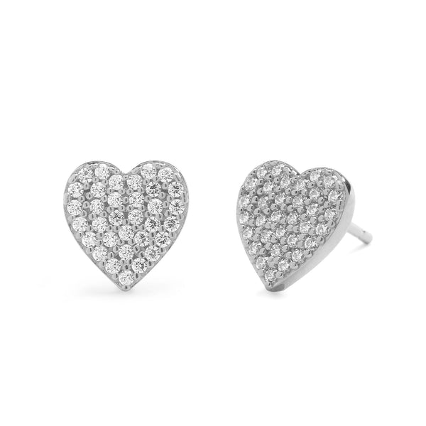 nadri rhodium plated sterling silver petite pave cz heart earrings