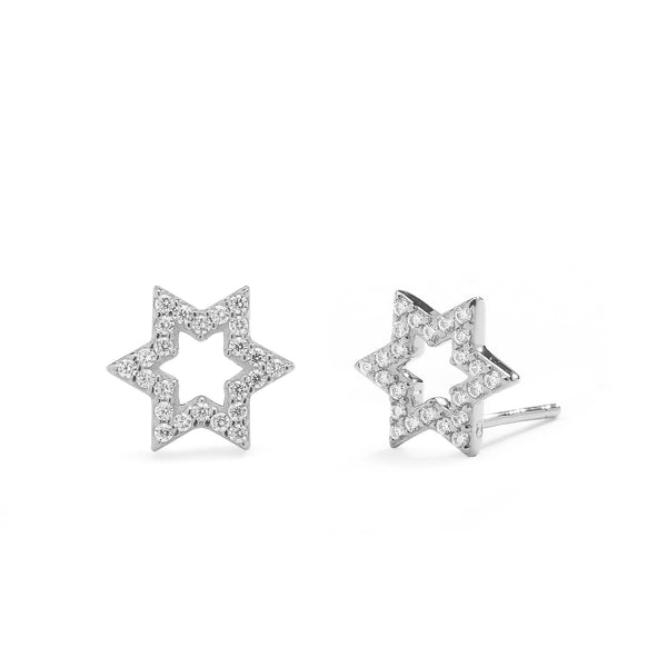 nadri rhodium plated sterling silver petite pave cz star of david earrings