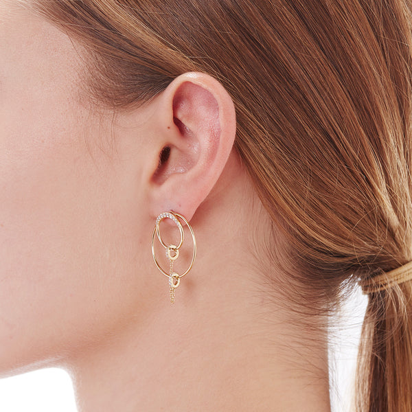 CHAINED THREE WAY CONVERTIBLE EARRINGS
