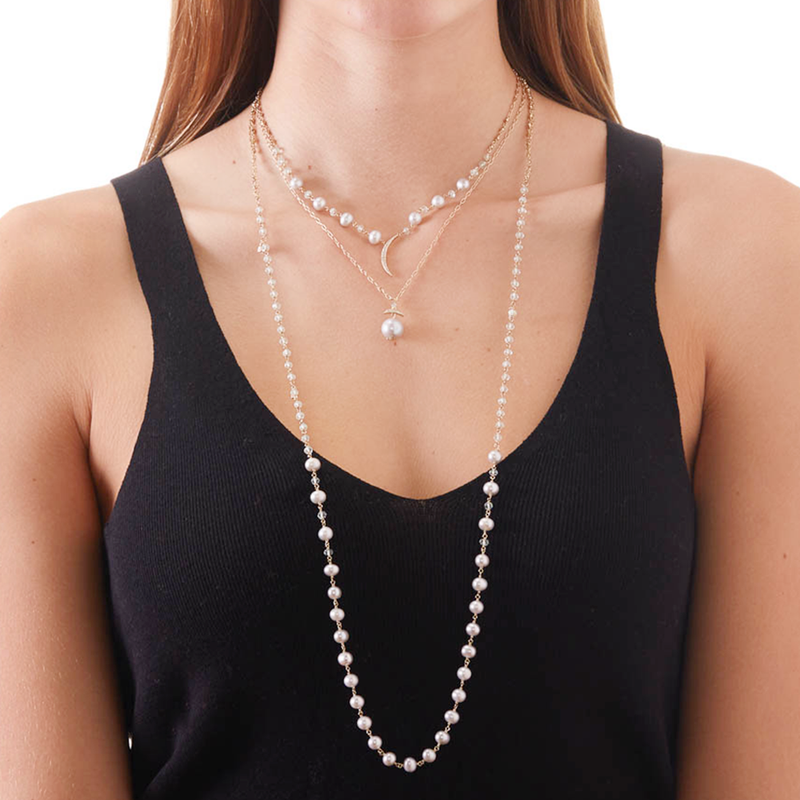 JULIET SILVER FRESHWATER PEARL AND CZ SMALL CRESCENT NECKLACE
