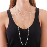 JULIET SILVER FRESHWATER PEARL AND CZ  NECKLACE