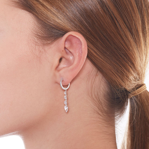 SMALL LINEAR CZ HINGED HOOP EARRINGS