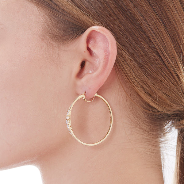 GRADUATED CZ HOOP EARRINGS