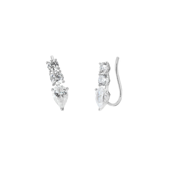 SMALL PEAR & ROUND CZ CLIMBER EARRINGS