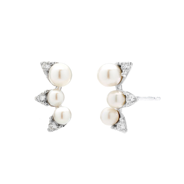 SMALL FRESHWATER PEARL & CZ STUD EARRINGS