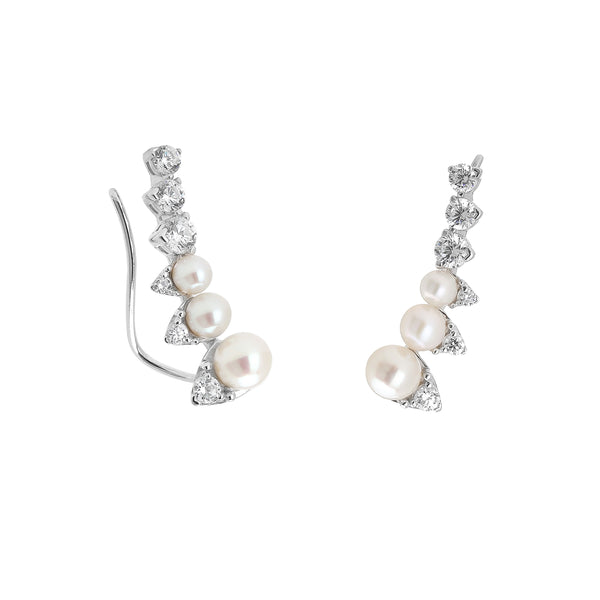 FRESHWATER PEARL & CZ CLIMBER EARRINGS