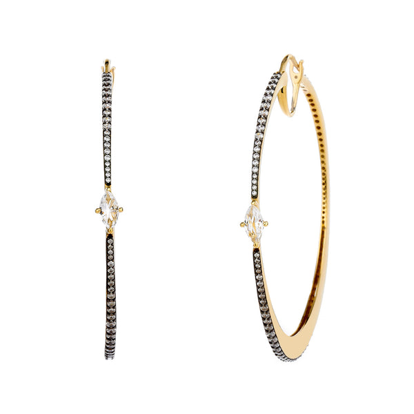 COMO TWO TONE WHITE TOPAZ AND CZ LARGE HOOP EARRINGS