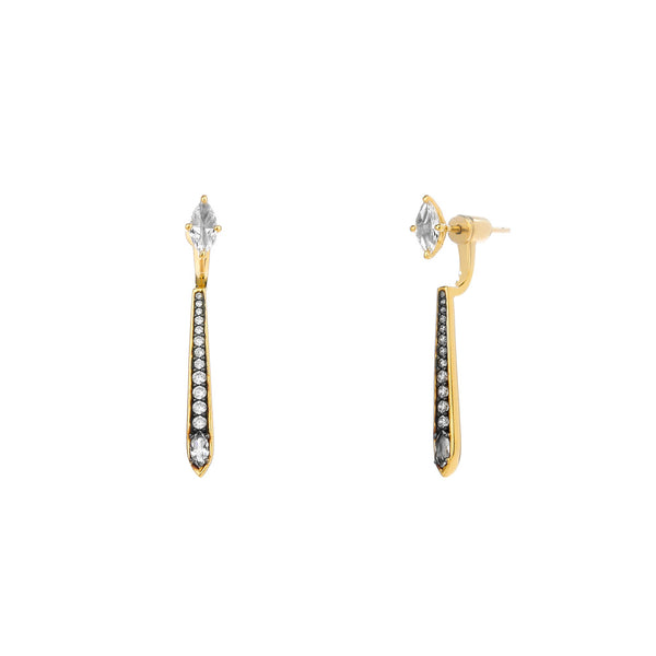 COMO WHITE TOPAZ AND CZ FRONT BACK EARRINGS