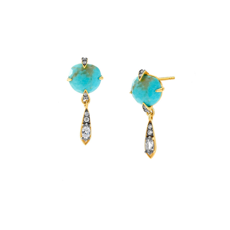 AGEAN TURQUOISE AND WHITE TOPAZ SMALL DROP STUD EARRINGS