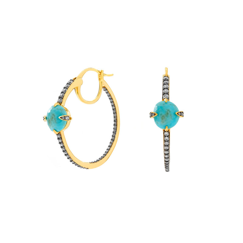 AGEAN TURQUOISE AND CZ HOOP EARRINGS