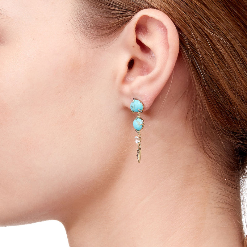 AGEAN TURQUOISE AND WHITE TOPAZ LINEAR DROP EARRINGS